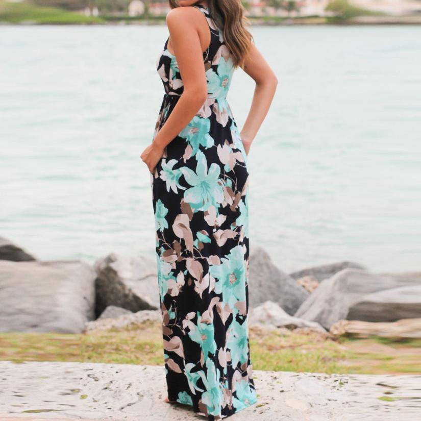 b85362831e07c Mooistar #L030 2017 Sexy Women Sleeveless Floral Print Maxi Dress with  Pockets Beach Summer Sundress -in Dresses from Women's Clothing &  Accessories ...