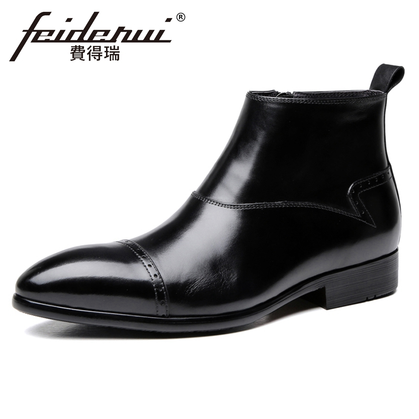 British Designer Real Genuine Leather Mens High-Top Ankle Boots Pointed Toe Handmade Basic Riding Man Semi Brogue Shoes YMX646British Designer Real Genuine Leather Mens High-Top Ankle Boots Pointed Toe Handmade Basic Riding Man Semi Brogue Shoes YMX646