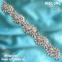 (10 yards) Wholesale handmade beaded bridal crystal rhinestone appliques trim iron on for wedding dresses sash WDD0691