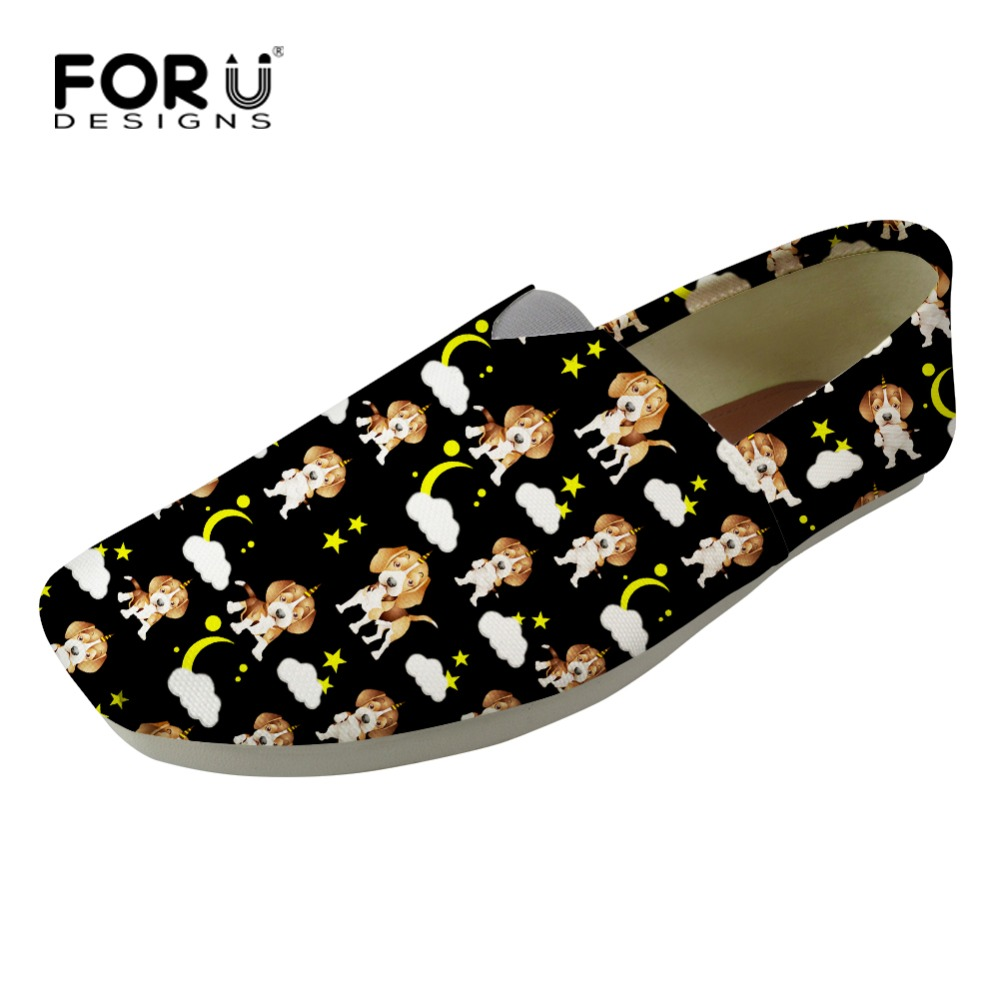 FORUDESIGNS Square Toe Women Flats Cute Printed Pet Dog Canvas Loafers Black Korean Japan Style Lazy Shoes Female Walking Shoes