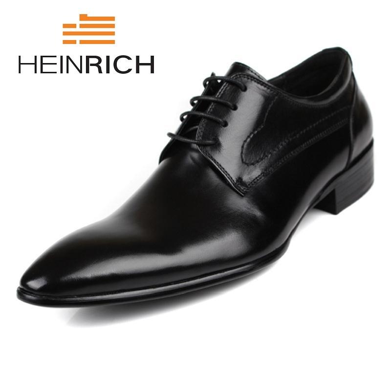 HEINRICH Genuine Leather Men Shoes Lace Up Business Comfortable Dress Men Derby Shoes Black Luxury Brand Formal Men Shoes