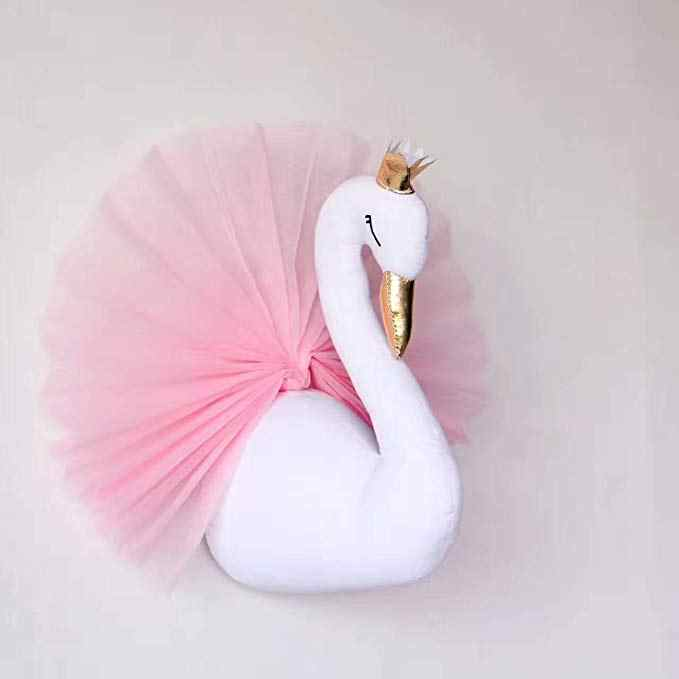 INS Hot Nodic 3D Cute Crown Swan Stuffed Doll Newborn Baby In The Room Decor Photography Props Baby Bedroom Decor Gifts