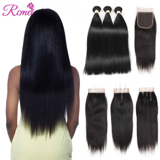 Rcmei Brazilian Straight Human Hair Bundle with Closure 3 Bundles With Closure Natural Black Color Non Remy Human Hair Extension
