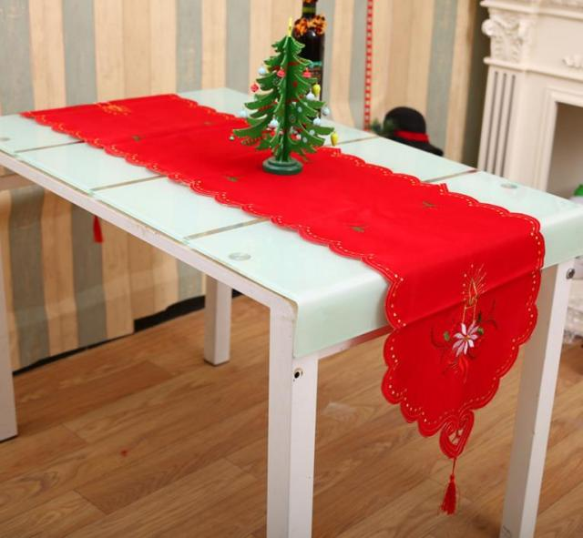 Xmastable runner sashes cloth christmas santa bell cane for Como hacer un camino de mesa original