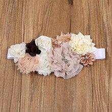 3 вида стилей белый, бежевый атласные ленты повязка и пояс с цветочками детская подставка для фото детские ремни девушки свадебный цветок невесты Девушка Пояс аксессуары
