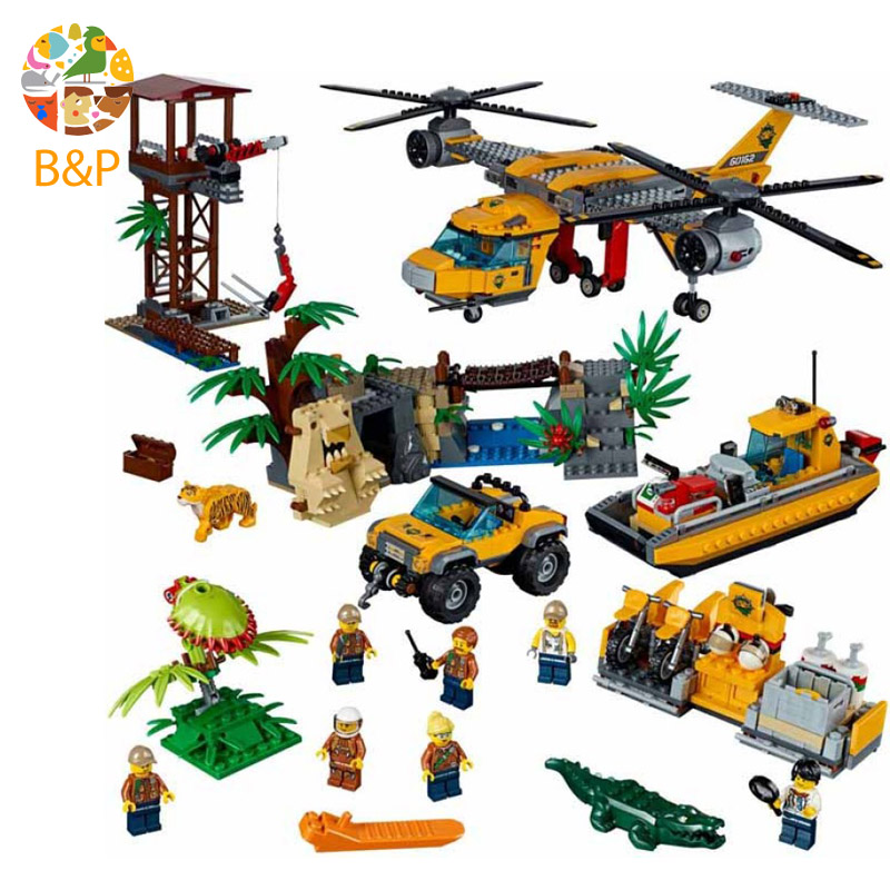 lepin Legoing 60162 1400pcs City Police series The Jungle Air Drop Helicopter Building Block Toy For Children Gift 02085 1400pcs genuine city series the jungle air drop helicopter set compatible lepins building blocks bricks boys girls gifts