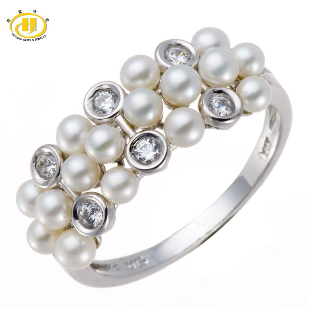 Hutang Natural Freshwater Pearl Solid 925 Sterling Silver Ring Fine Jewelry Lady Women Gift box