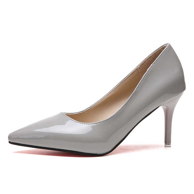 2019 HOT Women Shoes Pointed Toe Pumps Patent Leather Dress  High Heels Boat Shoes Wedding Shoes Zapatos Mujer Blue White 45