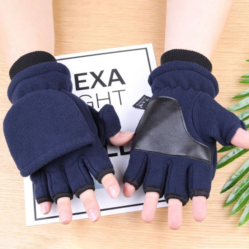 Winter Polar Fleece Half Finger Flip Gloves Double Layer Thicken Touch Screen Fingerless Convertible Mittens Wrist Warmer Cover