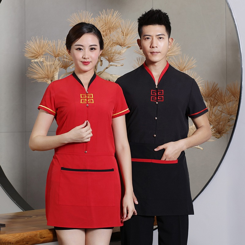 Short Sleeve Waiter Uniforms Restaurant Kitchen Cooking Professional Uniform Overalls Outfit Summer Breathable Food Service
