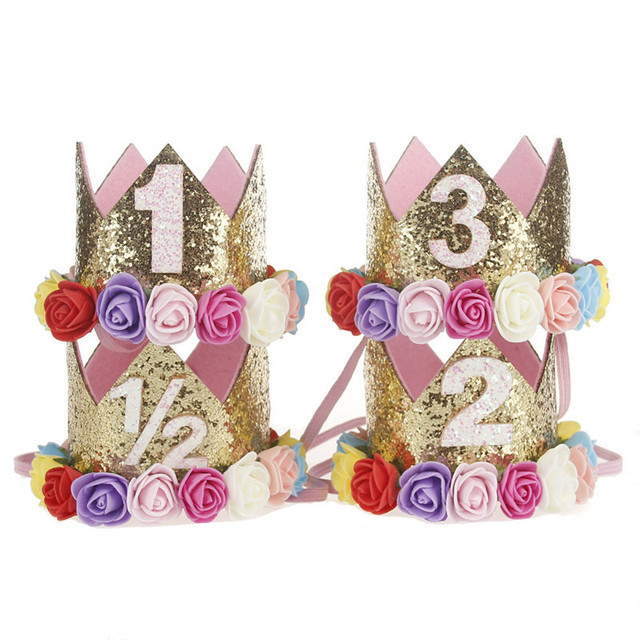 Baby Girl First Birthday Decor Flower Party Cap Crown Headband 1 2 3 Year Number Priness Style Birthday Hat Baby Hair Accessory