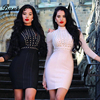 Custom Made HEGO 2016 New Rivet Studded Long Sleeve Sexy Sheath Party Bandage Dress Mesh