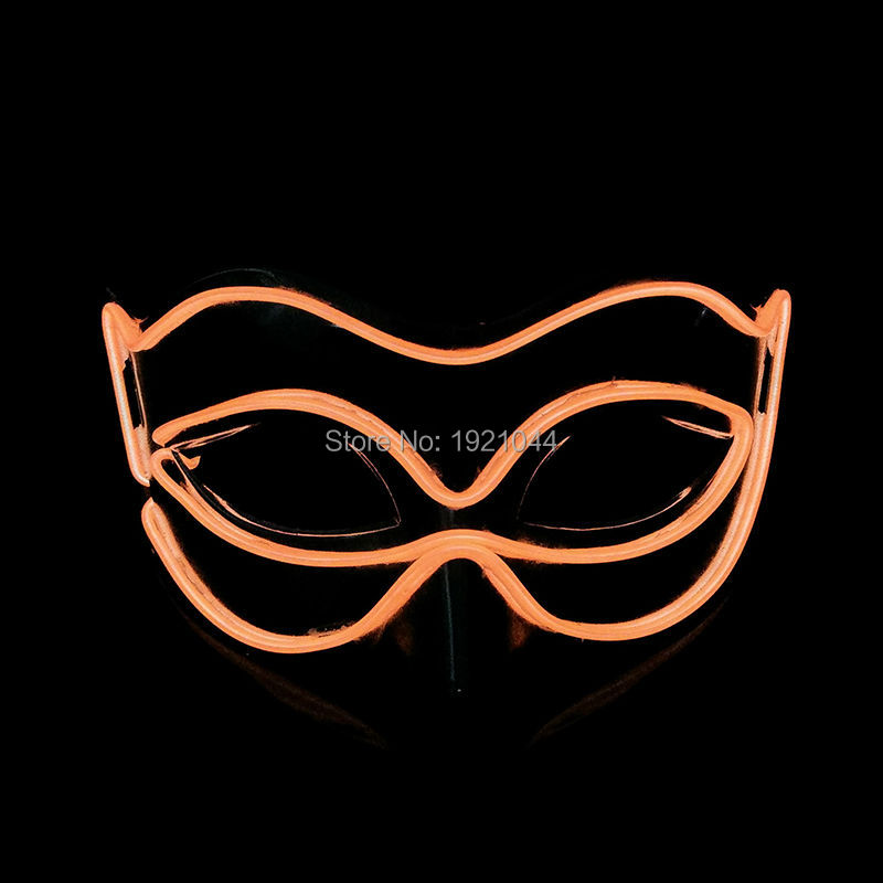 EL Luminous Flash Colorful Mask Half Face PVC Shining Flash LED Light by 3V Steady on Driver Mask Cosplay Mask Party Decoration