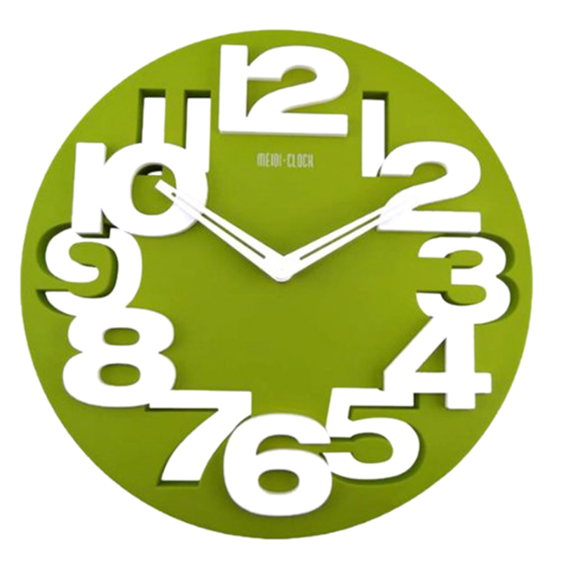 New Novelty Hollow-out 3D Big Digits Kitchen Home Office Decor Round Shaped Wall Clock Art Clock (Green)