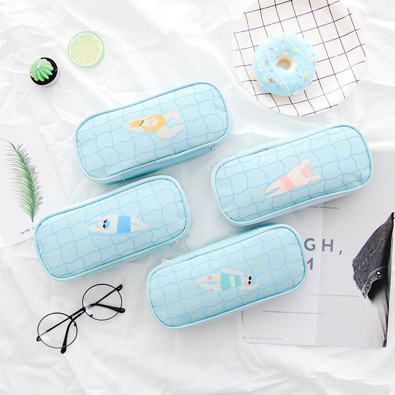 New Pencil Case School Stationery Swimming Party Pencil Bag Blue Pencil Box Creative Fashion Cute Boy Girl Gift School Supplies