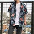 Винтажная гавайская рубашка с цветочным принтом  мужская повседневная Летняя гавайская рубашка с коротким рукавом и принтом  A5495