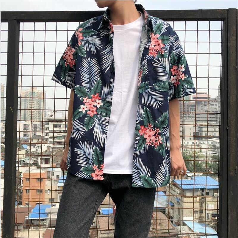 Винтажная гавайская рубашка с цветочным принтом; повседневная пара; Летние Гавайские рубашки с принтом; пляжные вечерние рубашки с короткими рукавами; одежда; A5495