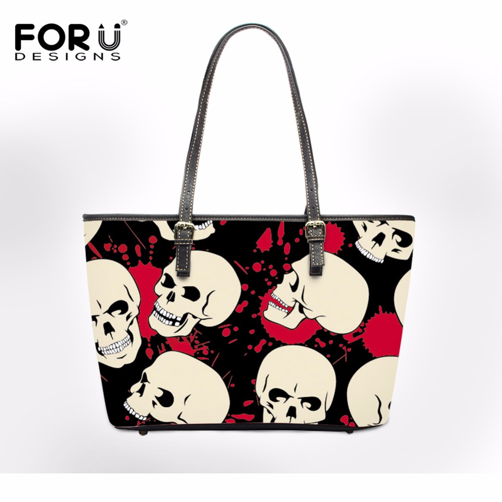 FORUDESIGNS Skull Design Women PU Leather Shoulder Bags Fashion Beach Cross Body Bags for Ladies Luxury Tote Bag Bolsa Feminine