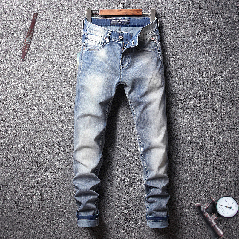 Summer Fashion Streetwear Men   Jeans   Light Blue Color White Washed Simple Classical   Jeans   Men Slim Fit Hip Hop   Jeans   Homme