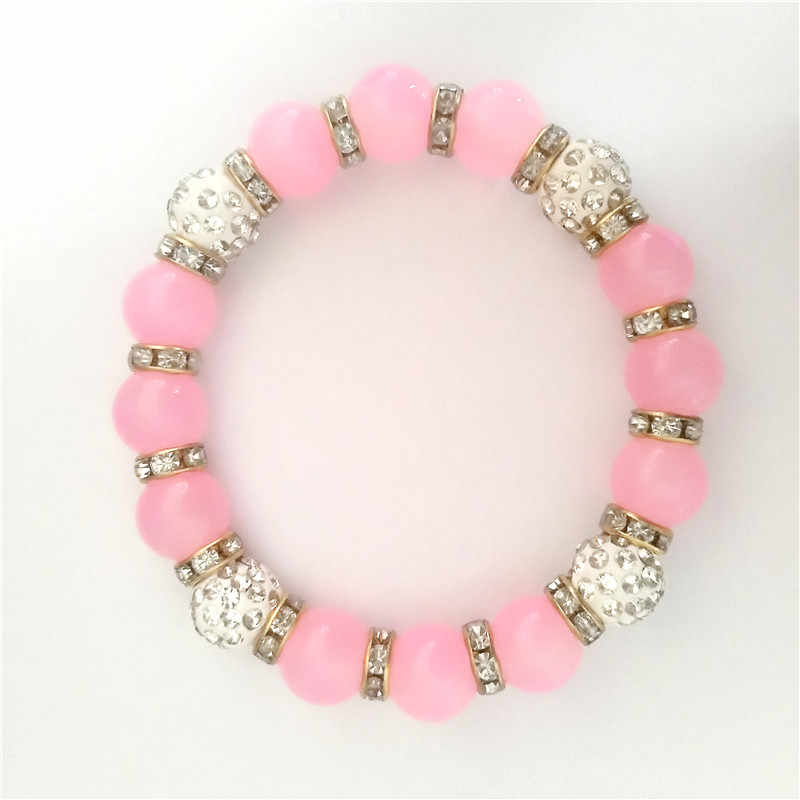 Fashion Natural pink Stone Colored Ball Bracelet cute Glamour Round Beaded Bracelet for Girl's birthday Jewelry Gift  8 Colors