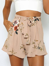 HIRIGIN Women Vintage Floral Shorts Summer Casual Bow Lady Beach High Waist Short Trousers (PID1507)