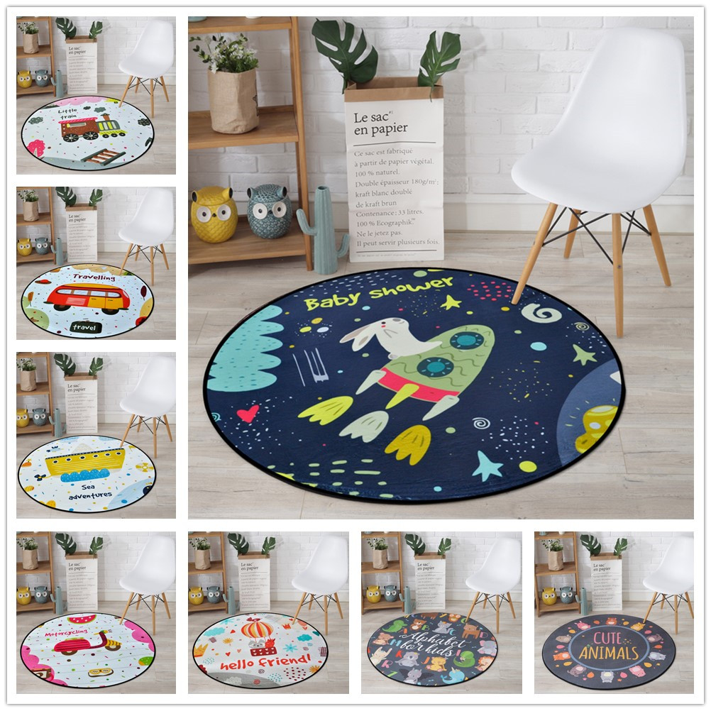 Cartoon Car Series Carpet Round Computer Chair Rug Computer Chair Rug Home Entrance Doormat Study Rugs Kids Room Carpets