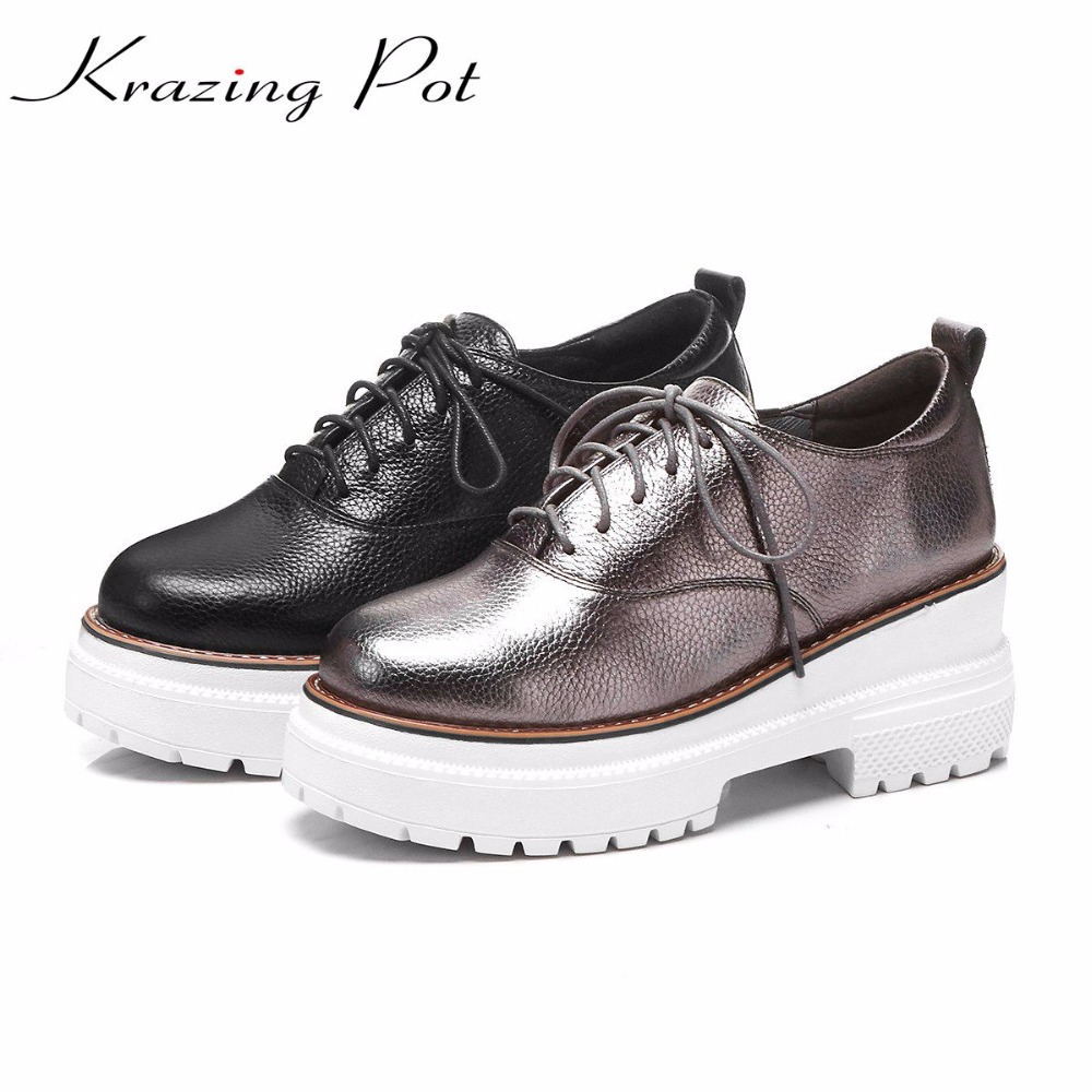 Krazing pot classics cow leather shoes women wedges leather round toe cross-tied European star hollow increased oxford shoes L11 krazing pot 2018 shoes women genuine leather round toe rivets wedges lace up bowtie women pumps hollow platform oxford shoes l03