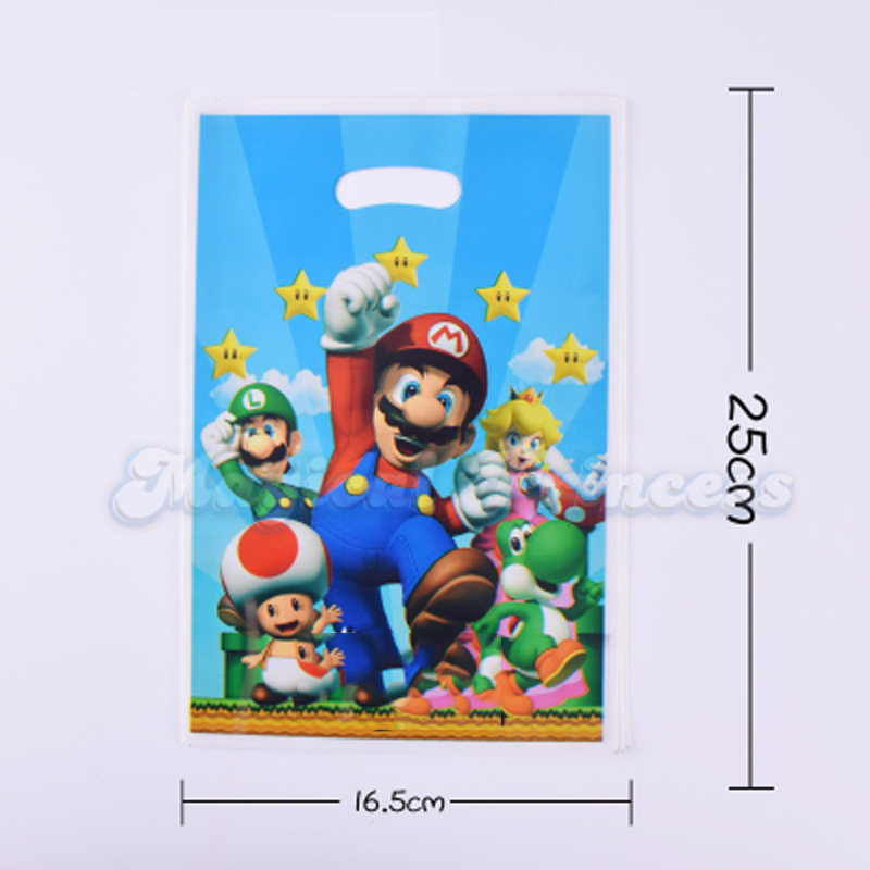 10PCS/Pack Super Mario Bro Theme Kids Favors Birthday Party Plastic Gifts Cookies Bags Baby Shower Loot Bag Decoration Supplies10PCS/Pack Super Mario Bro Theme Kids Favors Birthday Party Plastic Gifts Cookies Bags Baby Shower Loot Bag Decoration Supplies