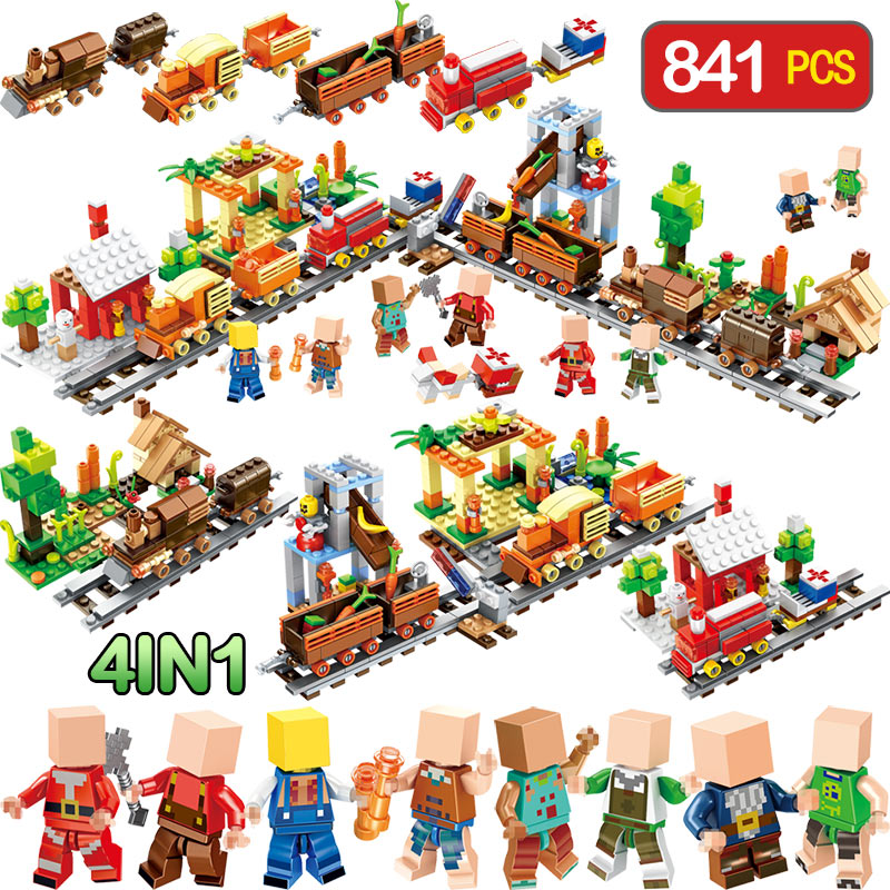 My World Bricks Harvest season Scene Compatible LegoINGlys Minecrafter Train Railway Eductional Technik Blocks Toys For Children lele 2017 new technic compatible legoinglys minecrafter the nether railway building blocks my world educational toys 402 pcs