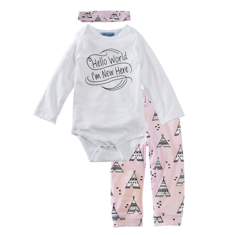 Baby girl clothing set autumn letter 2017 romper+pant+Headband 3pcs kids clothes sets for toddler girls baby girl clothing sets велосипед stels navigator 310 2016