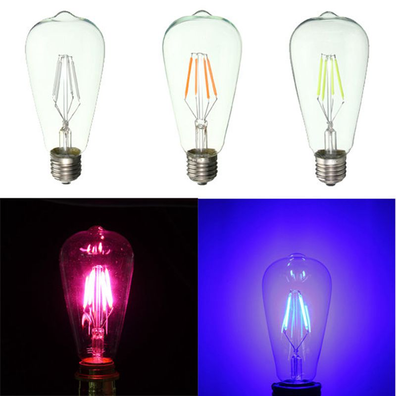 E27 ST64 Retro Edison LED 4W COB Squirrel Cage Colorful Filament Glass Light Lamp Bulb AC 220V quest to learn developing the school for digital kids