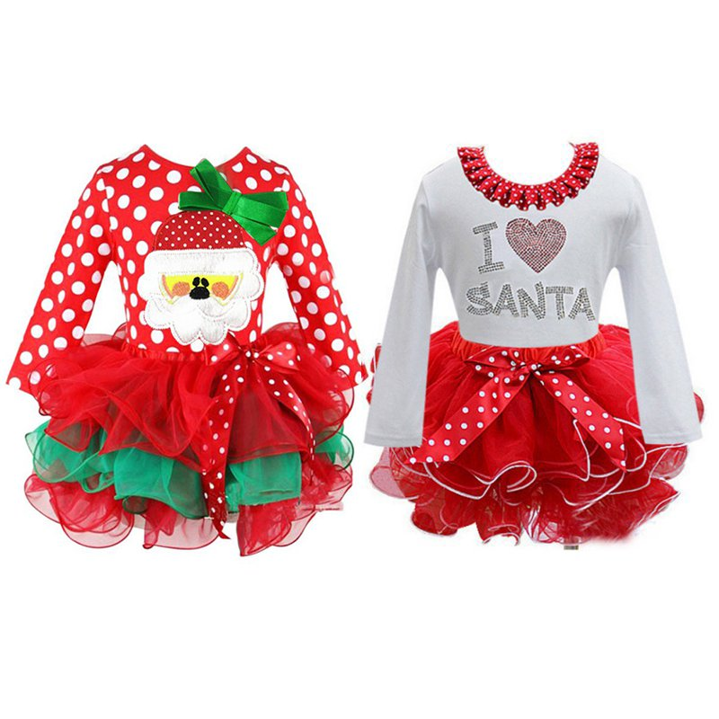 Girl Ball-gown Dress Christmas Costumes Long Sleeve Princess Tutu Dresses Kids Party Clothing red girls christmas dress princess flowers tutu dress tulle children performance ball gown baby kids party christmas costumes