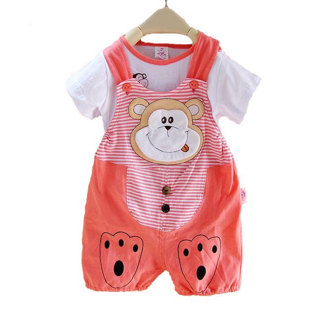 Venda quente a Roupa Do Bebê Set Menina e Menino de Verão 100% Algodão 2 pcs Terno Camisa de Manga Curta + Macacão 0-1 Desgaste Infantil