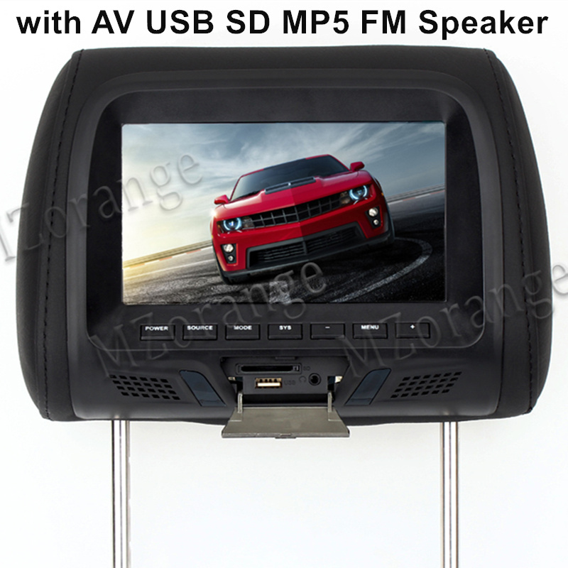 7 inch TFT LED Screen Pillow Monitor General Car Headrest Monitor Beige/Gray/Black color AV USB SD MP5 FM Speaker black 2pcs lot universal digital tft screen zipper car headrest dvd player monitor usb fm game disc remote with 2 x ir headsets