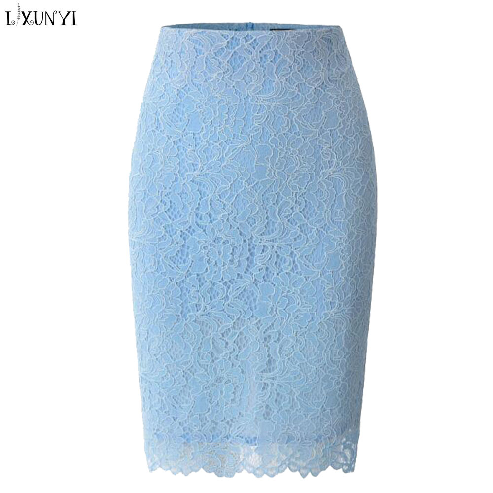 LXUNYI 2019 printemps été dentelle crayon jupes femmes taille haute creux mince élégant dentelle jupes pour femmes Midi grande taille genou