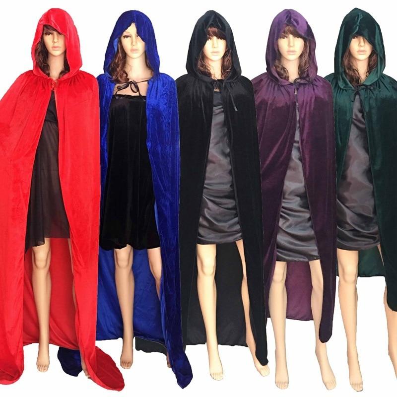 送料無料大人魔女長い紫緑赤黒ハロウィンマントフードやケープハロウィン衣装のための女性男性