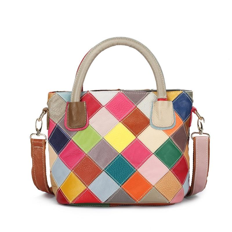 Chsanato 100 Genuine Leather Patchwork Bag Cowhide Bucket Women Shoulder Colorful Handbags K580