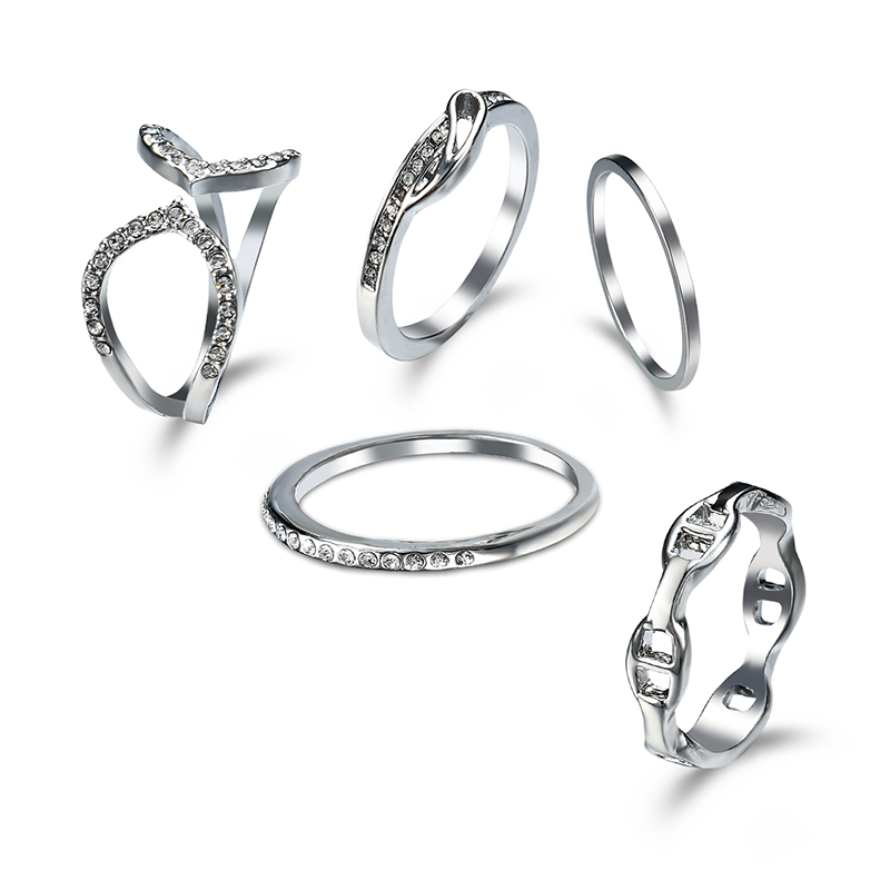 H:HYDE 5pcs/set Fashion Anel jewelry New grace silver gold color crystal finger ring sets party gift for women ladies wholesale