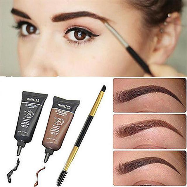 Natural Easy To Wear Brown Waterproof Tint Eyebrow Henna With Mascara Eyebrows Paint Brush Set Beauty 5