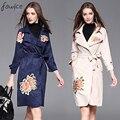 Elegantes Mujeres de La Moda Gabardina Larga 2016 de Alta Calidad de Flores Y Mariposa Bordado Con Cinturón Delgado Mujer Outwear