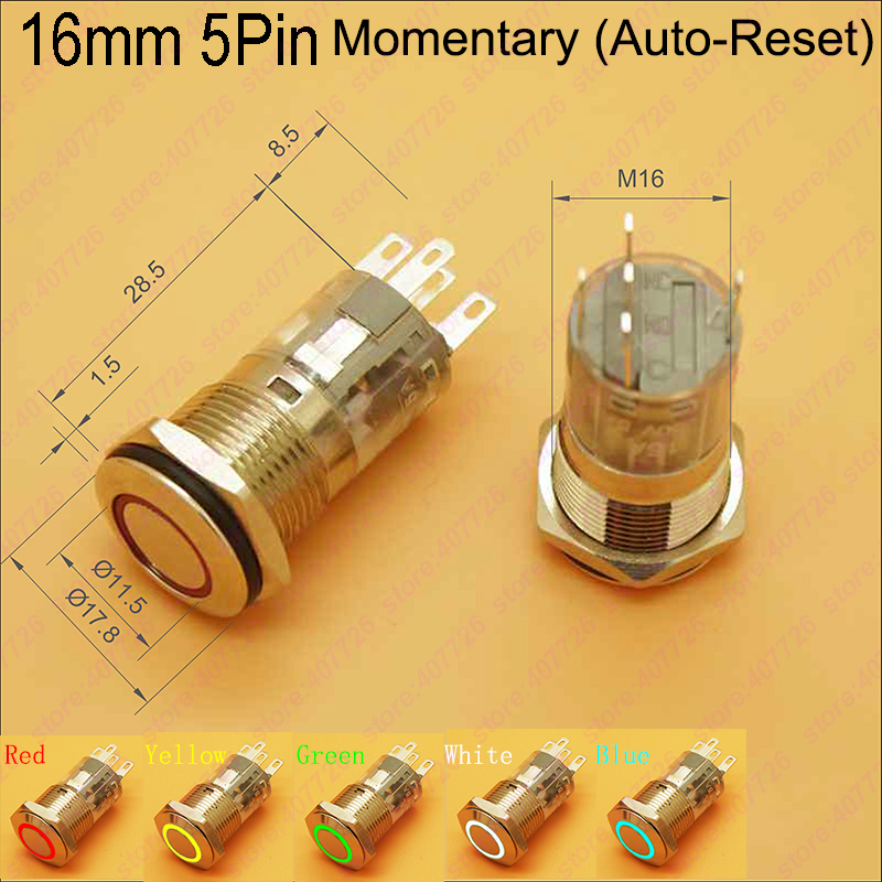 1PC 16MM Power Start Metal Button Switch Momentary Self Reset Ring Indication 5PIN LED 12V/24V for Car Dash/Motorbike/Machine