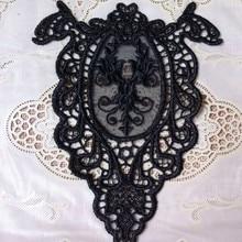 2Pcs Black Embroidery Organza Guipure Lace Collar Fabric DIY Accessory Neckline Sewing Accessories Applique
