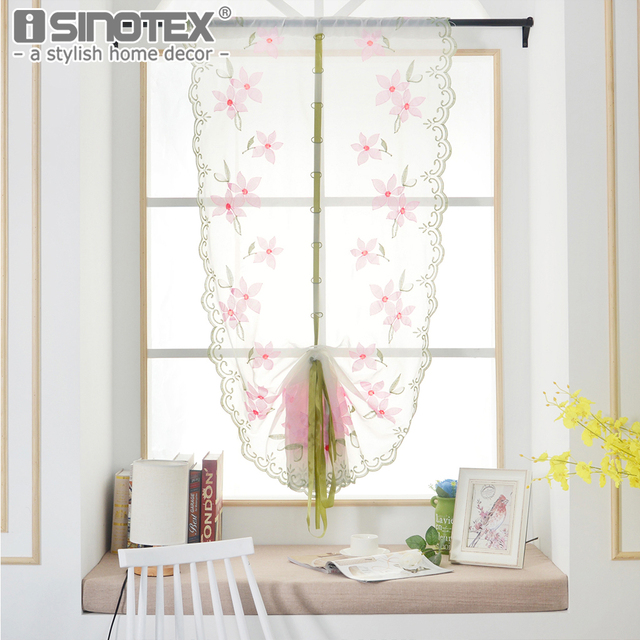 Roman Curtains Tulle Pastoral Floral Peach BlossomVoile Panel For The  Kitchen Window Curtains Living Room Bedroom