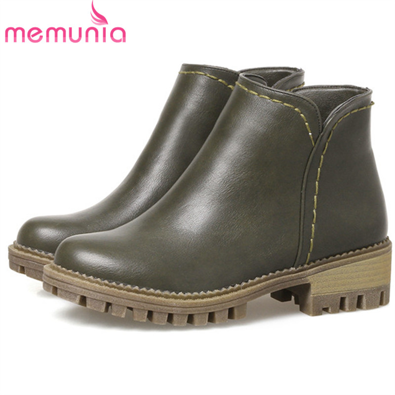 MEMUNIA Fashion boots in spring autumn ankle boots for women med heels shoes woman solid zip PU women shoes large size 34-44 morazora knee high boots woman fashion punk women shoes spring autumn boots pu solid zip med heels shoes big size 34 42