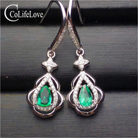 Fashion emerald eardrop for party 100% natural emerald drop earrings solid 925 sterling silver emerald wedding jewelry for woman