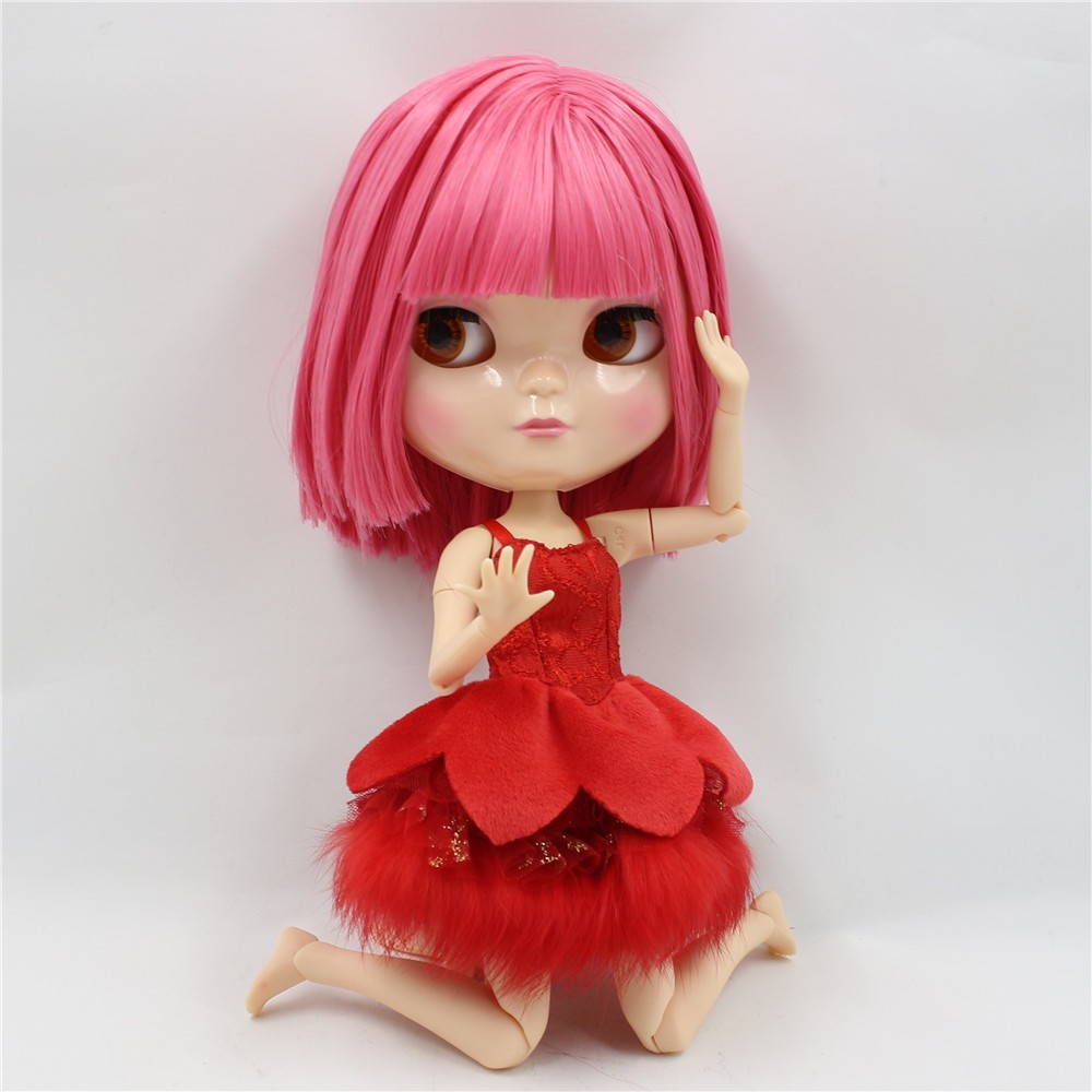 Neo Blythe Doll with Pink Hair, White Skin, Shiny Face & Jointed Azone Body 3