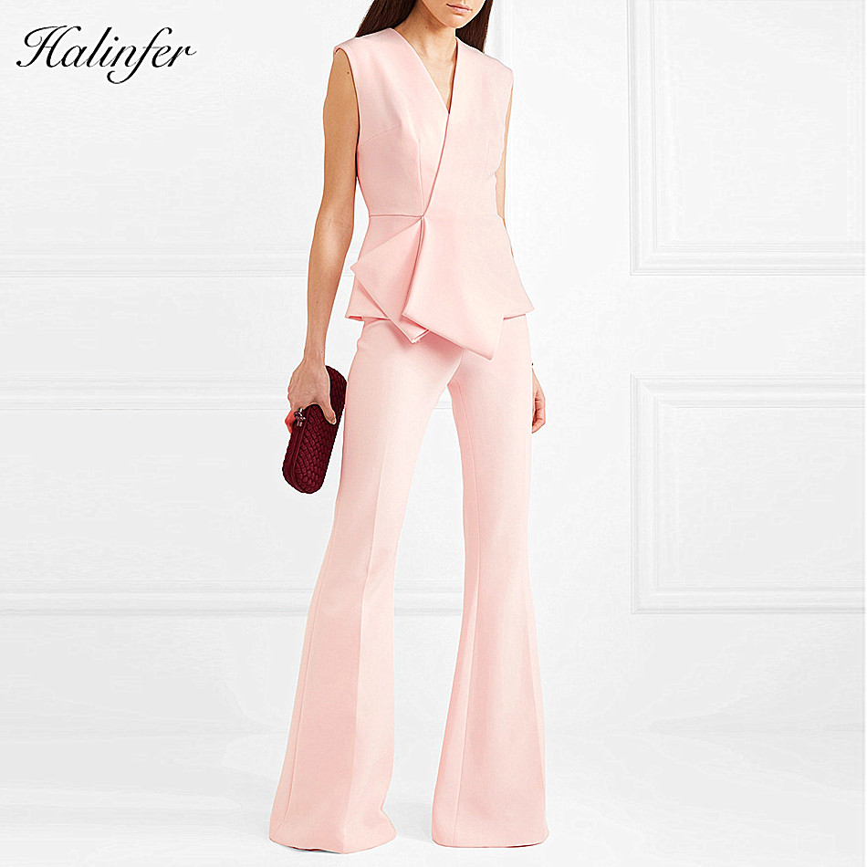 Halinfer 2018 New summer women pants sexy bodycon v neck 2 pieces pants elegant club celebrity party pink pencil pant vestidos