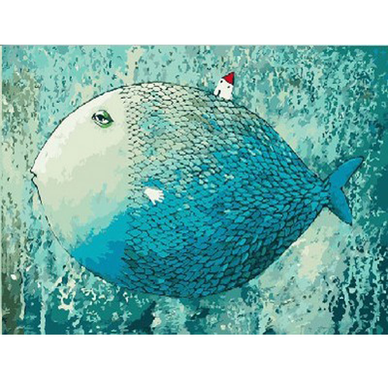 Big blue fish Flower Frameless picture on wall acrylic oil painting by numbers abstract drawing by numbers Still life gift