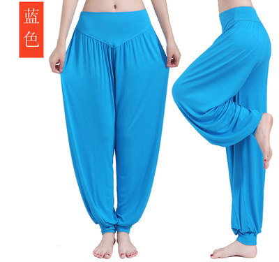 Plus Size Modal Yoga Pants Women Colorful Loose Elastic Bloomers Dance Yoga Tai Chi Full Length Pants Smooth Fitness Trousers