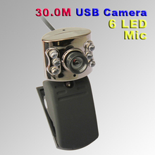 UN2F USB 30.0M 6 LED Webcam Camera With Mic Web Cam for Desktop PC Laptop Notebook Free Shipping